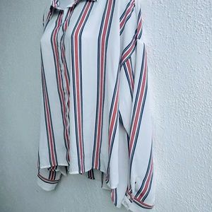 Forever 21 striped silk blouse size 1X